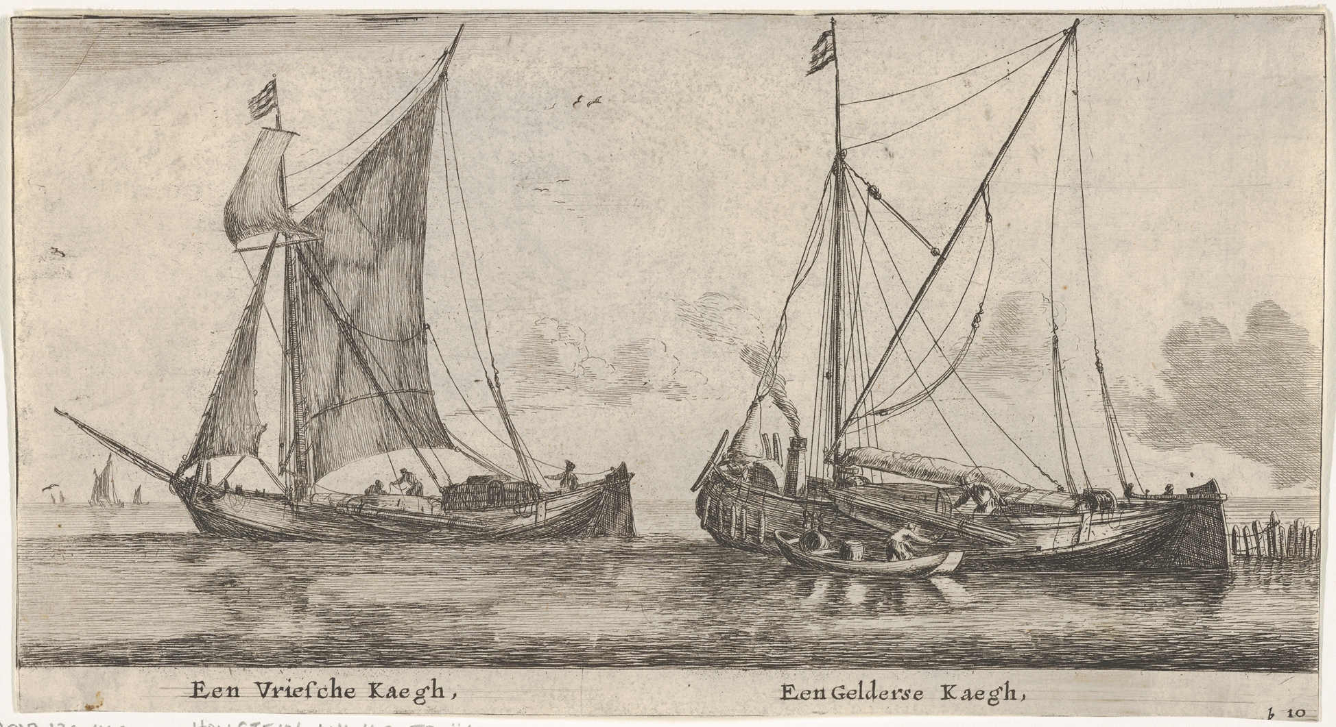 """A Friesland Ketch and a Gelderse Keth,"" from ""Various Ships and Views of Amsterdam, part II"""